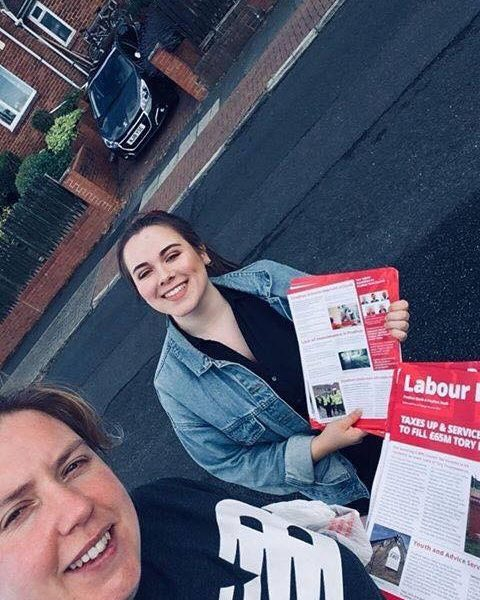 Young Labour out leafleting in Prudhoe this August