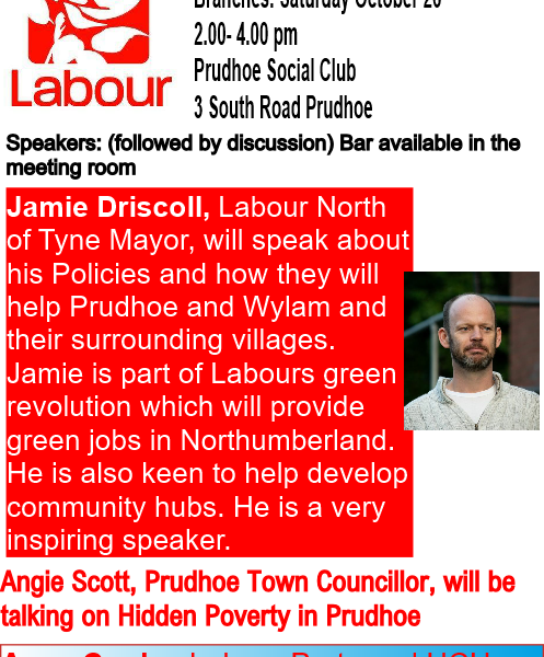 Prudhoe & Bywell Rally Sat Oct 26th with Jamie Driscoll, Angie Scott and Anya Cooke
