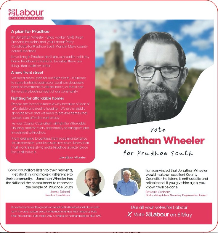 Prudhoe South candidate – Jonathan Wheeler
