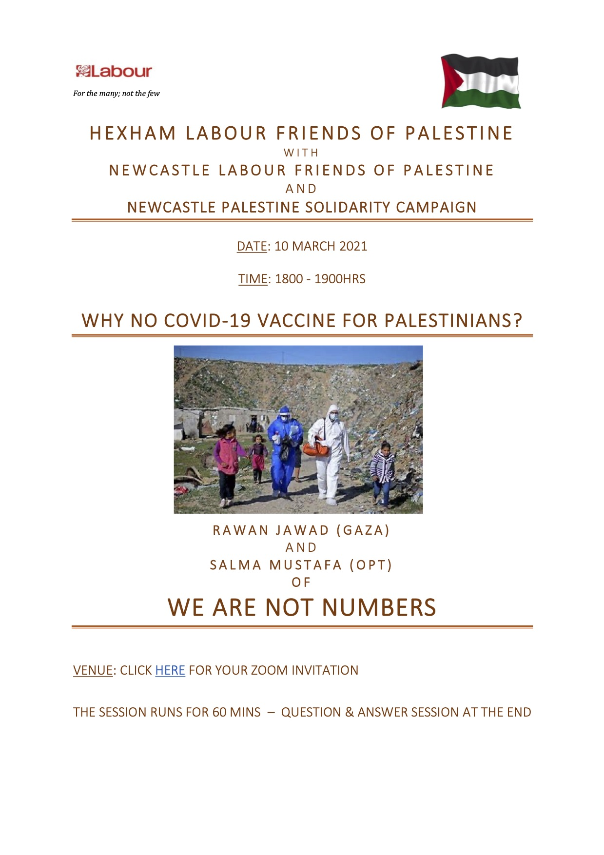 Hexham Labour Friends of Palestine: Upcoming events